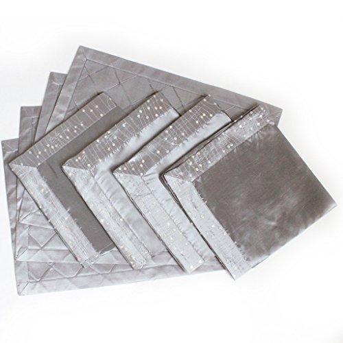 Sorrento Lot de 8 plis fabriqué en imitation soie Argenté Tapis de table 33 x 45,7 cm/45,7 x 45,7 cm Coffret cadeau