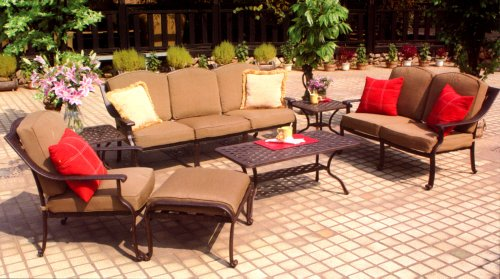 Darlee Ten Star 7 Piece Cast Aluminum Patio Conversation Seating Set with Coffee Table & 2 End Tables