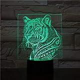 lampara 3D Pared Animal 7 Cambios de Color Interruptor táctil y Remoto Navidad