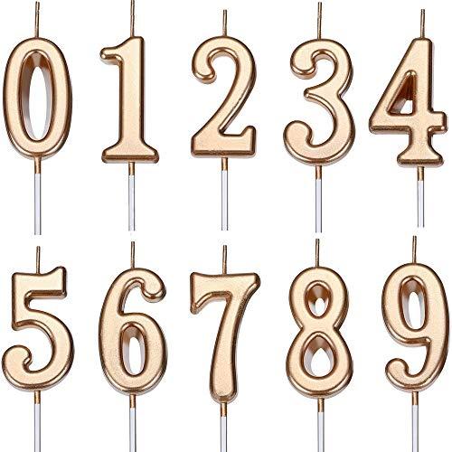 Feelairy 10 Stücke Geburtstagskuchen Kerzen Zahlen, Geburtstag Zahl Kerzen Nummer Kerze 0-9 Glitter Cake Topper Alles Gute zum Geburtstag Kuchen Topper für Geburtstagtorte Kuchen Party (Champagner)