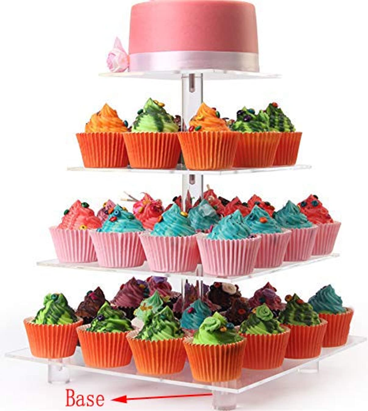 LoveDisplay 4 Tiers Maypole Square Acrylic Cupcake Display Stands, Wedding Clear Dessert Stand, Cupcake Tree Tower(With Base)