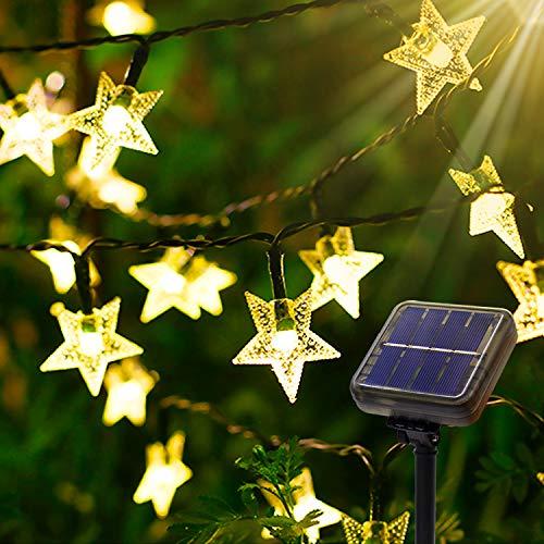 Cadena de Luces Solares Estrella - AUTOLA 55ft/100led Cadena de Luces Solares de Hadas Luz de Cadena Energía Solar Exteriores Luces Decorativas con 8 Modos para Árbol Fiesta Jardín