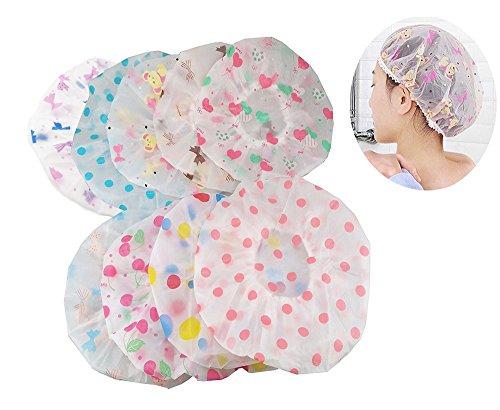 Price comparison product image yueton Pack of 8 Vogue Lady Elastic Waterproof Plastic Shower Bathing Salon Hair Cap (Dot series)