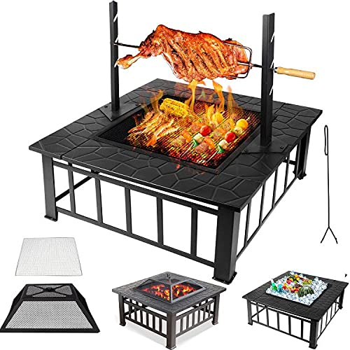 Buycitky Outdoor Fire Pits for Garden Large, BBQ Fire Pit Table with Grill & Uprights Rotisserie, 3 In 1 Metal Firepit Ice Pit Patio Heater for Camping Barbecue Outside