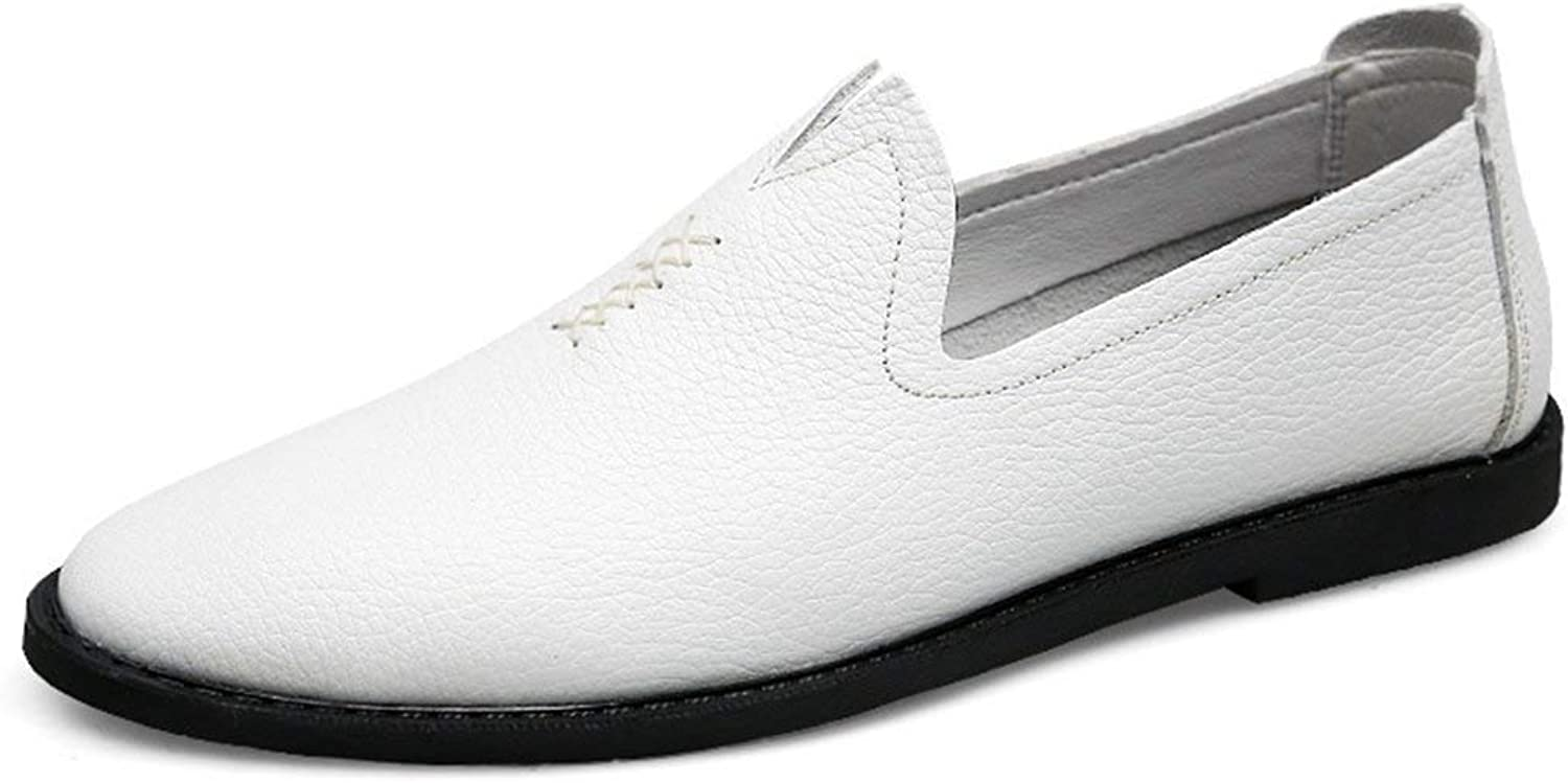 ZHRUI Boy's Men's Fanshaped Slip-on Leisure Casual Spring Loafers (color   White, Size   6.5 UK)