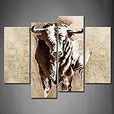 HOMEDCR Cuadros enmarcados del Arte de la Pared Cuernos de Toro Impresión de la Lona Obra de Arte Animales Cartel con Marco de Madera para Sala de Estar