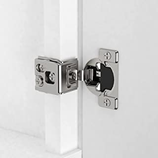 Amerdeco 1-1/4 inch Overlay Soft Close Cabinet Hinges with 3 Ways Adjustment,20 Pack Stainless Steel Satin Nickel Plated S...