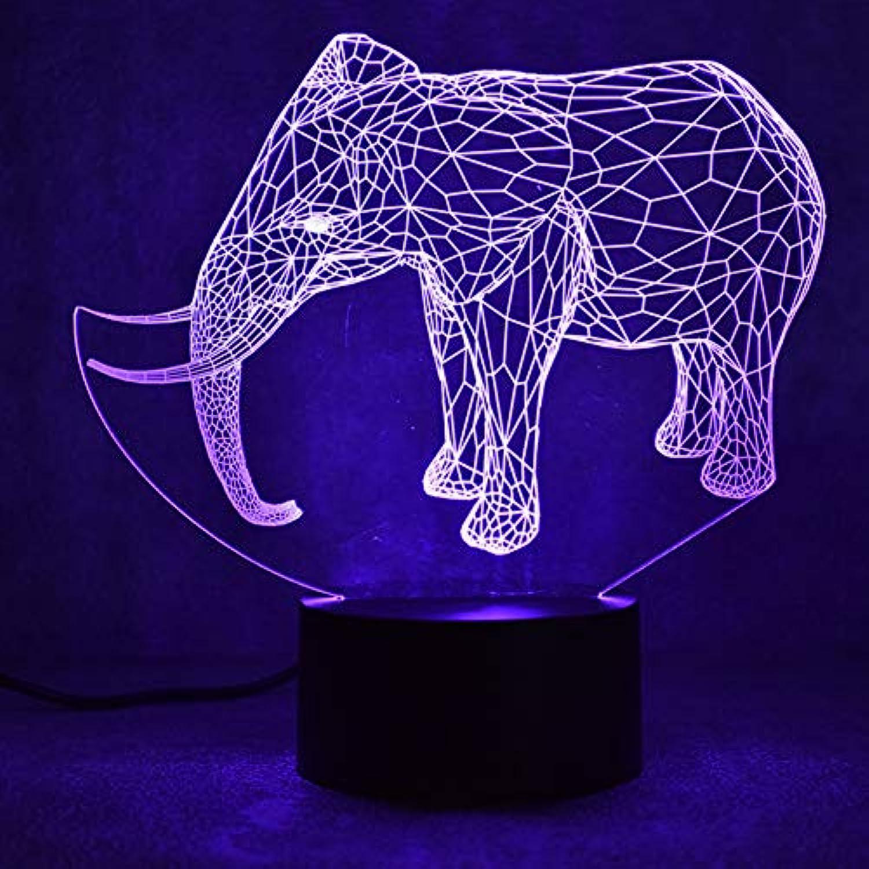 Laofan 3D USB Führte Visuelle Tier Elefant Leuchte Geschenke Nachttischlampe Tischlampe Urlaub Dekor Nachtlichter,Berührungsschalter