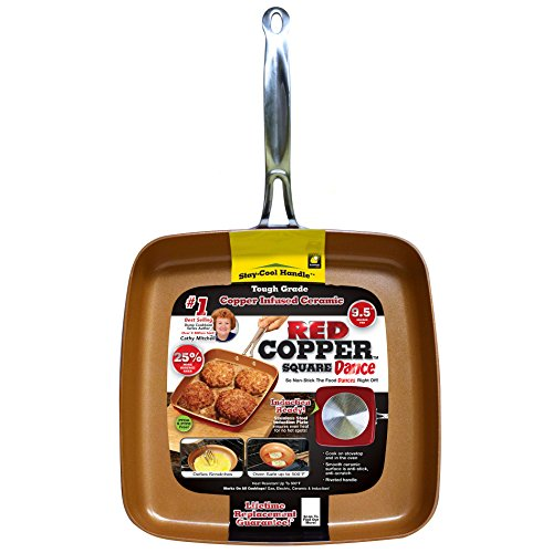 BulbHead Red Copper 9.5-Inch Square Dance Pan