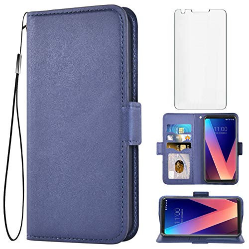 Asuwish Compatible with LG V35 ThinQ V30 Plus Wallet Case with Tempered Glass Screen Protector Leather Flip Cover Card Holder Cell Phone Cases for LGV30 LGV35 LG30 LG35 V 30 35 V30+ V30s H931 Blue