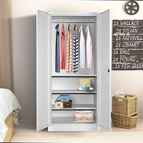 Steel Wardrobe with Clothes Rail,double Doors and 3 Adjustable Shelves,Lockable Metal Cabinet Bedroom Wardrobe Chest, Bedroom Metal Storage Cabinet, Large Storage Space Organizer