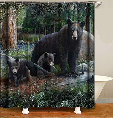 ZZZdz In Het Groene Woud. Moeder bruine beren spelen met haar baby. Douchegordijn. Waterdicht. Eenvoudig te reinigen. 180 x 180 cm.
