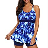Zando Swimsuits for Women Two Piece Tankini Swimsuits Modest Bathing Suits Tummy Control Swimwear 2 Piece Tankini Top with Boyshort Bathing Suit Slimming Ladies Swimsuits Starry Blue 4XL (US 18-20)