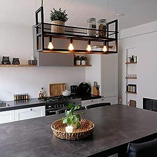 QAZQA Moderno Lámpara colgante industrial negra con estante de 4 luces - Cage Rack Acero Alargada Adecuado para LED Max. 4 x 60 Watt