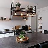 QAZQA - Modern Industrie | Industrial Hängelampe | Pendellampe | Pendelleuchte | Esstisch | Esszimmer schwarz mit Rack 4-flammig-Licht - Cage Rack | Wohnzimmer | Küche - Stahl Länglich - LED geeignet