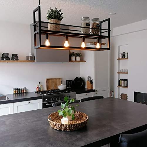 QAZQA Modern Industrielle Hängelampe schwarz mit 4-flammig-Licht-Rack - Cage Rack/Innenbeleuchtung/Wohnzimmerlampe/Küche Stahl Länglich LED geeignet E27 Max. 4 x 60 Watt