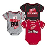 Outerstuff Detroit Red Wings NHL Infant Red/Black/Grey #1 Biggest Fan 3 Piece Creeper Set
