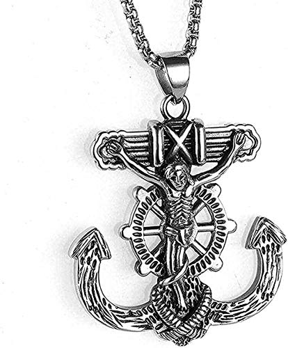 LBBYLFFF Necklace Stainless Steel Jewelry Men Necklace Vintage Anchor Jesus Peace Titan Steel Pendant Necklace Gift for Women Men Girl Boy Necklace