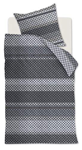 Rivièra Maison 176186 Parure de lit en Coton renforcé avec 1 taie d'oreiller 80 x 80 cm et 1 Housse de Couette 155 x 220 cm Motif Union Ave