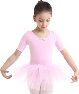 ranrann Kids Girls Basic Short Sleeve Ballet Dance Tutu Dress Cotton Criss Cross Back Skirts Gymnastic Leotard Dancewear