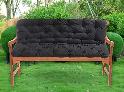 LRuilo - Cuscino impermeabile per panca da giardino, cuscino per dondolo a banana, per 2 3 e 4 posti, Nero , 120x100x10cm