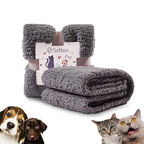softan Pluizige Hondendeken Wasbaar, Super Warm en Zacht Sherpa Fleece Puppy Deken voor Hondenbed, Bank,Bankstel,Sofa,Grijs,60x80cm