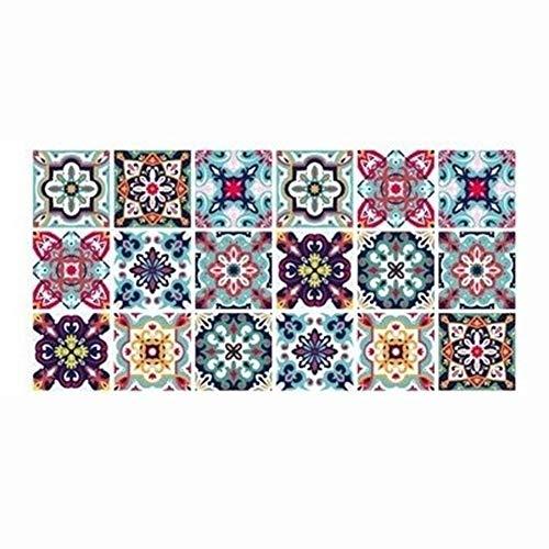 Lianlili Pegatinas de Azulejos Retro árabe para la Cocina Baño PVC Autoadhesivo Pegatinas de la Pared Sala de Estar DIY Decoración Wallpaper Fabricación Impermeable calcomanía (Color : HZ020)