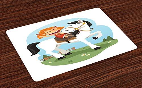 ABAKUHAUS Pony Placemat Set van 4, Gelukkig Meisje Farm op een Paard, Wasbare Stoffen Placemat voor Eettafel, Wit en Multicolor