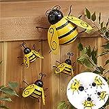 Angel&J Metal Bumble Bee Ornament, Garden Yard Fence 3D Iron Art Sculpture Decorations, Lawn Bar Bedroom Living Room Coffee Shop Wall Hanging Bumblebee Art Decoration (4pc, Bumble Bee Ornament)