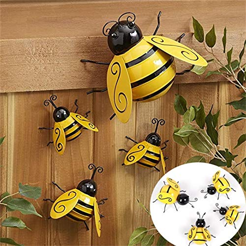 YIlanglang Metal Wall Art Bee 3D Sculpture, Retro Wall Decor Hanging for Indoor and Outdoor Decorative Bee Ornaments Metal Bumblebee Wall Decoration Garden Bumble Bee Decor