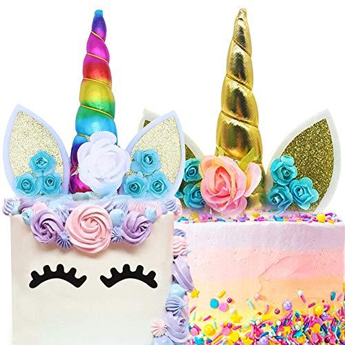 BESYZY Einhorn Cake Topper Einhorn Tortenaufsatz Kuchendeckel Tortendekoration Party Gegenstände für Geburtstagsfeiern,für die Baby Geburtstag und der Hochzeit Party (Bunt und Gold)