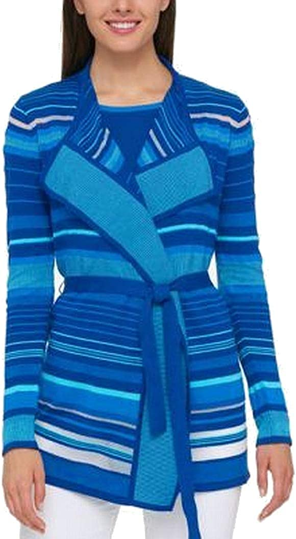 Tommy Hilfiger Womens Striped Belted Cardigan Sweater