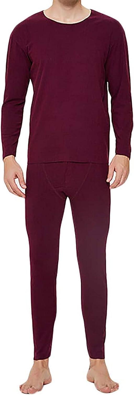 Men's Thermal Underwear Set Striped Long Johns Soft Pajama Sets
