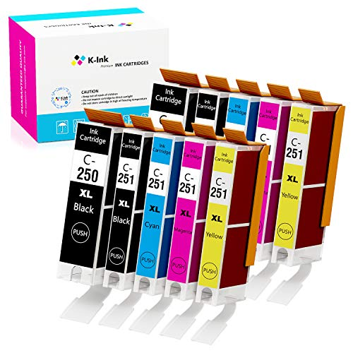 K-Ink Compatible Ink Cartridge Replacement for Canon PGI-250XL PGI 250 XL CLI-251XL CLI 251 XL for Pixma MX922 MG7520 MG5520 MG5420 MG6620 MG5620 (2 Big Black, 2 Black, 2 Cyan, 2 Yellow, 2 Magenta)