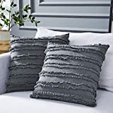 Longhui bedding Grey Throw Pillow Cover for Couch Sofa Bed, Cotton Linen Decorative Pillows Cushion Covers, Gray Color 18 x 18 inches, Set of 2