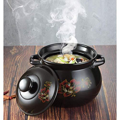 LIUSHI Flower Pattern Earthen Pot Clay Pot Soup Pot with Lid Heat-Resistant Saucepan for Slow Cooking,Ceramic Oval Casserole Dish Black 4quart