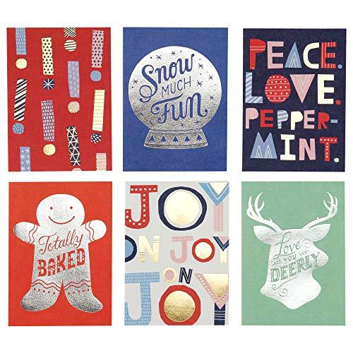 Hallmark Lustige Weihnachtskarten im Schuhkarton 6 Karten, 6 Umschläge Studio Tintenfolien-Icons