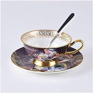 مجموعة أكواب القهوة من السيراميك الأوروبي القديم مع صحن ومعالق الفطور للمنزل للاستخدام اليومي والمكتب بعد الظهر - أفضل هدية