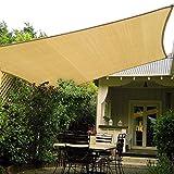 Patio Shack Toldo Vela Rectangular 2x3 m, Vela de Sombra HDPE, Transpirable, Resistente, Protección Rayos UV para Exterior, Jardín, Terrazas (Arena)