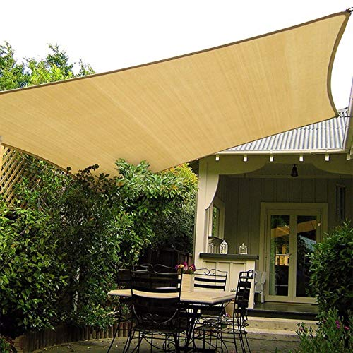 HAIKUS Toldo Vela Rectangular 4x5 m, Vela de Sombra 5x4 m HDPE, Transpirable, Resistente, 95% Protección Rayos UV para Exterior, Jardín, Terrazas (Arena)