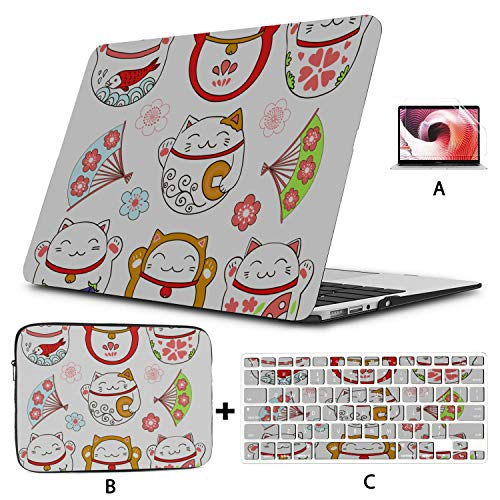 Laptop Cases Cute Greeting A White Lucky Cat Mac Air Cover Hard Shell Mac Air 11'/13' Pro 13'/15'/16' with Notebook Sleeve Bag for MacBook 2008-2020 Version