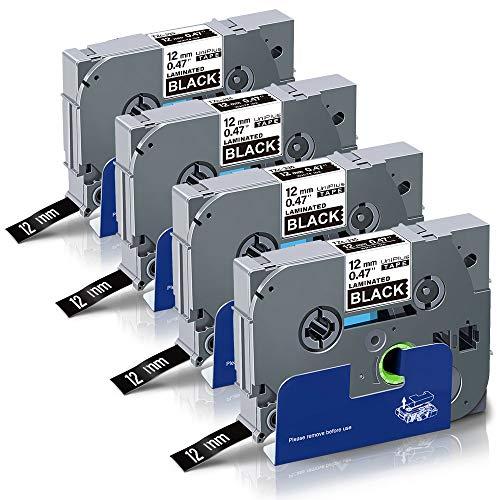 UniPlus Compatibile Nastro Cassette Etichette Compatibile per Brother Tze-335 Tze335 Nastro Laminato per Brother P-Touch Cube PT 1000 H100LB H101C P700 E100 D600VP, 12mm x 8m, Bianco su Nero, 4 Pz