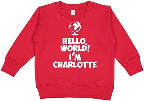Personalized Name Toddler//Kids Sweatshirt Mashed Clothing Hello World Im Charlotte