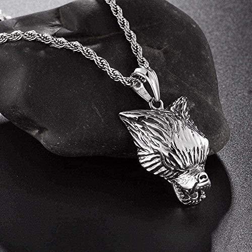 ZJJLWL Co.,ltd Necklace Retro Black Stainless Steel Wolf Pendant Necklace Men Vintage Large Long Pendants Male Necklaces Jewelry