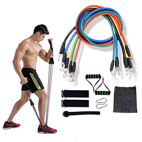GEHARTY - Set di 13 bande di resistenza per esercizi con manici, per yoga, pilates, crossfit, fitness, corda elastica per trazione, allenamento in lattice, con borsa e istruzioni