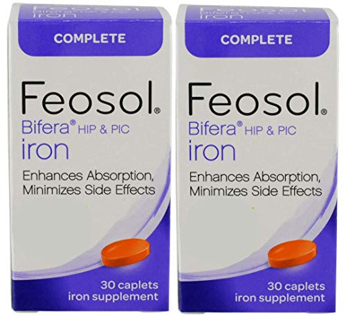 Feosol Complete with Patented Bifera Iron Caplets, 30Count, 2Count