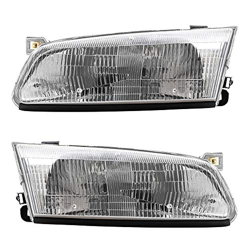 BROCK Driver and Passenger Headlights Headlamps Replacement for 1997-1999 Camry 81150AA010 81110AA010