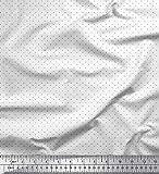 Soimoi Weiß Seide Stoff schwarz dots gedruckt Craft Fabric
