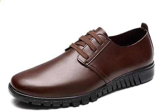 botas de Moda para Hombre, Zapaños de Trabaño con Punta rojoonda de Cuero OX con Cordones (Color  marrón, Tamaño  35 EU) (Color   rojo, Tamaño   35 EU)