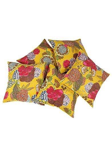 Radhy Krishna Fashions Indian – Kantha Fruit Impreso 5 Piezas Set de Color Amarillo 16 x 16 Pulgadas Funda de cojín Bloque de Mano Impreso Algodón Indio Home Decor, 100% algodón Kantha Funda de cojín